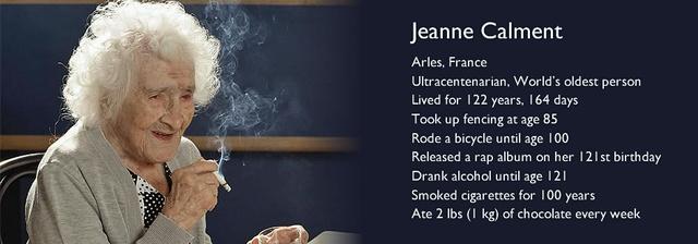 Ultraasırlık. Dünyanın en yaşlı kişisi. 122 yıl, 164 gün yaşadı. 85'inde tekrar eskrime yapmaya başladı. 100 yaşına kadar bisiklete bindi. 121.yaş gününde bir rap albümü çıkardı. 121 yaşına kadar alkol aldı. 100 yıl sigara içti. Her hafta bir kilo çikolata tüketti.